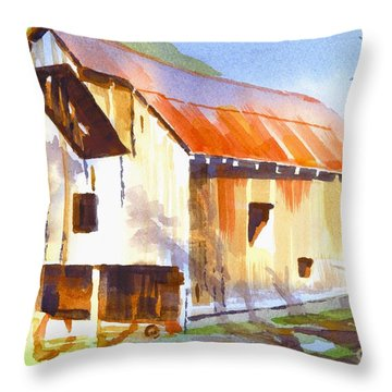Missouri Barn In Watercolor Throw Pillow