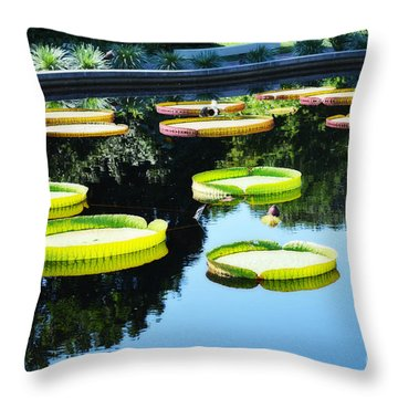 Missouri Botanical Garden Giant Lily Pads Throw Pillow by Luther Fine Art
