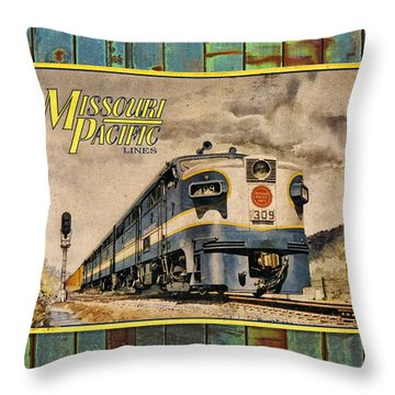 Missouri Pacific Lines Sign Engine 309 Dsc02854 Throw Pillow