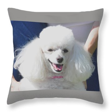 Missy White Poodle Throw Pillow