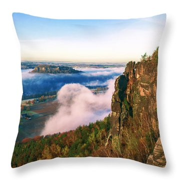 Mist Flow Around The Fortress Koenigstein Throw Pillow