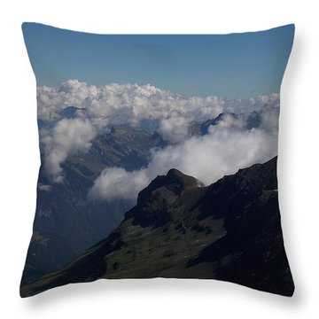 Mist From The Schilthorn Throw Pillow