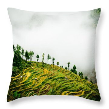 Mist In Mountain Himalayas Color Throw Pillow