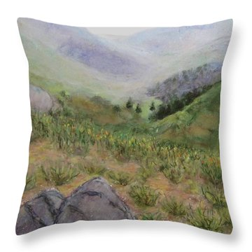 Mist In The Glen Throw Pillow by Laurie Morgan
