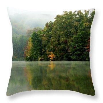 Mist On The  Lake Throw Pillow by Thomas R Fletcher