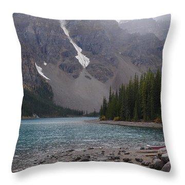 Mist Over Lake Moraine Throw Pillow