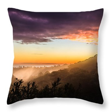 Mist Rising At Dusk Throw Pillow by Peta Thames