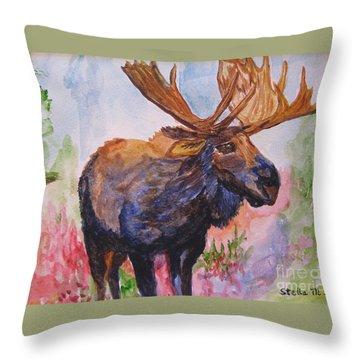 Mister Moose Throw Pillow