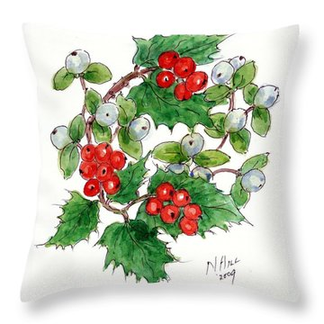 Mistletoe And Holly Wreath Throw Pillow by Nell Hill