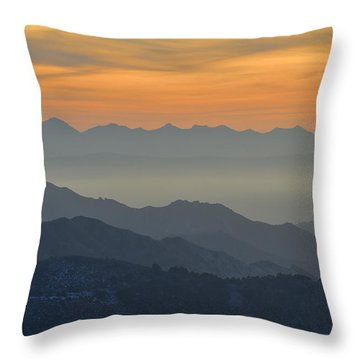 Mists In The Mountains At Sunset Throw Pillow by Guido Montanes Castillo