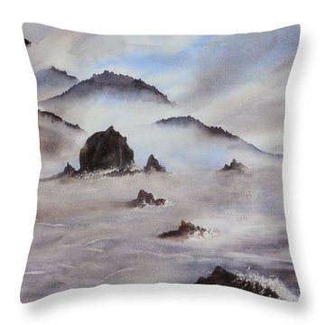 Mists Of Haystack Rock Throw Pillow