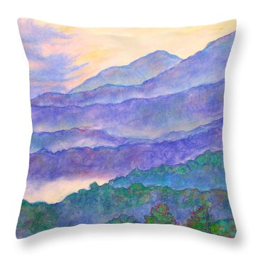 Misty Blue Ridge Throw Pillow by Kendall Kessler