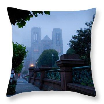 Misty Blues Throw Pillow