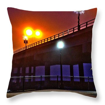 Throw Pillow featuring the photograph Misty Bridge by Tyson Kinnison