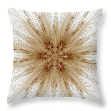 Misty Brown Mandala Throw Pillow