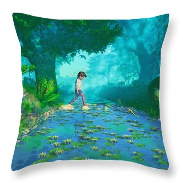 Misty Crossing Throw Pillow by Ken Morris