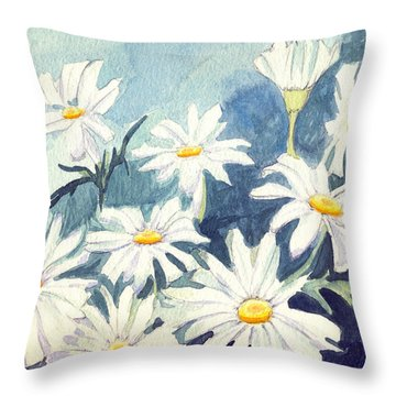 Misty Daisies Throw Pillow by Katherine Miller