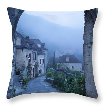 Misty Dawn In Saint Cirq Lapopie Throw Pillow by Brian Jannsen