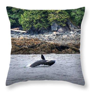 Misty Fjords Orca Throw Pillow