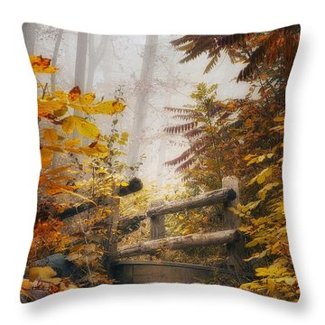 Misty Footbridge Throw Pillow