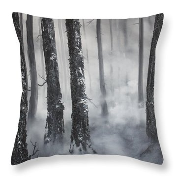 Throw Pillow featuring the painting Misty Forest by Jean Walker