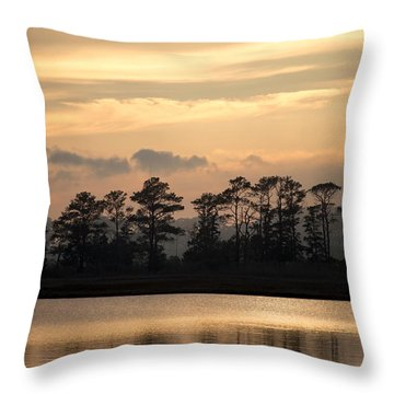 Misty Island Of Assawoman Bay Throw Pillow