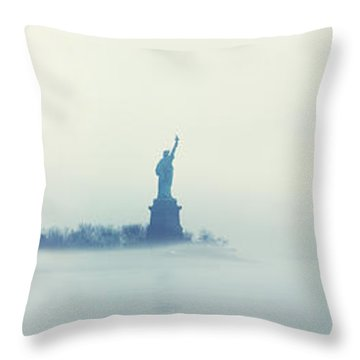 Misty Liberty Throw Pillow by Nishanth Gopinathan