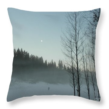 Misty Meadow Throw Pillow