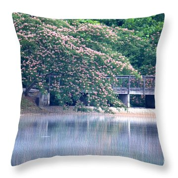 Misty Mimosa Reflections Throw Pillow by Maria Urso