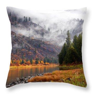 Misty Montana Morning Throw Pillow