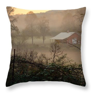 Misty Morn And Horse Throw Pillow by Kathy Barney