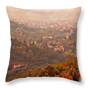 Misty Morn O'er Florence Throw Pillow