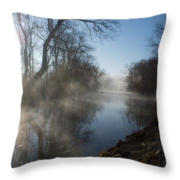 Misty Morning Along James River Throw Pillow