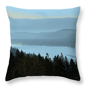 Misty Morning At Donner Lake Throw Pillow
