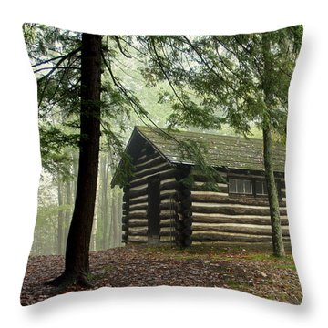 Throw Pillow featuring the photograph Misty Morning Cabin by Suzanne Stout