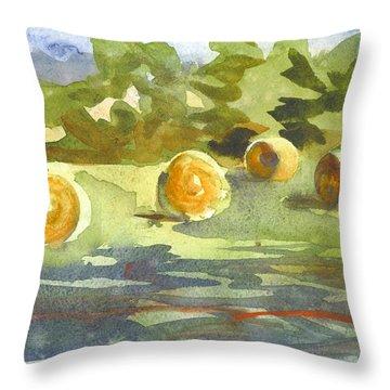 Misty Morning Gold Throw Pillow by Kip DeVore