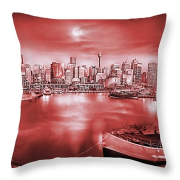 Misty Morning Harbour - Red Throw Pillow