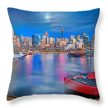 Misty Morning Harbour Throw Pillow