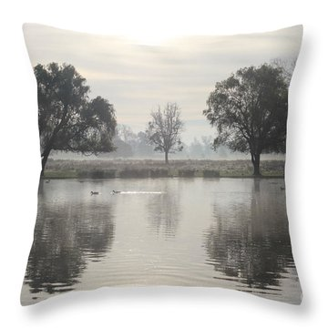Misty Morning In Bushy Park London 2 Throw Pillow