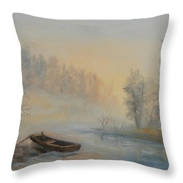 Throw Pillow featuring the painting Misty Morning by Katalin Luczay