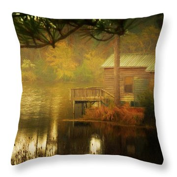 Misty Morning On The Pond Throw Pillow