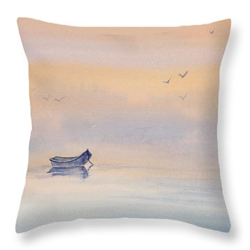 Misty Morning Peace Watercolor Painting Throw Pillow