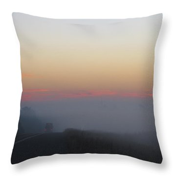 Misty Morning Road Throw Pillow