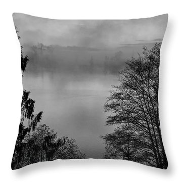 Misty Morning Sunrise Black And White Art Prints Throw Pillow