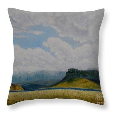 Misty Mountain Throw Pillow by Caroline Street