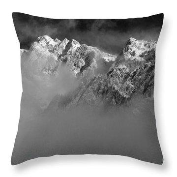 Misty Mountains In Mono Throw Pillow