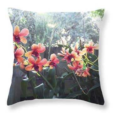 Misty Orchids Throw Pillow by Ginny Schmidt