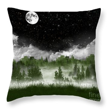 Misty Pines Throw Pillow