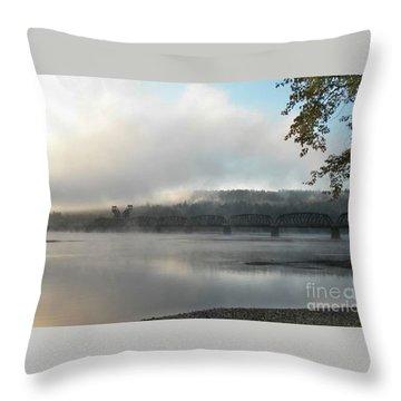 Misty Railway Bridge Throw Pillow