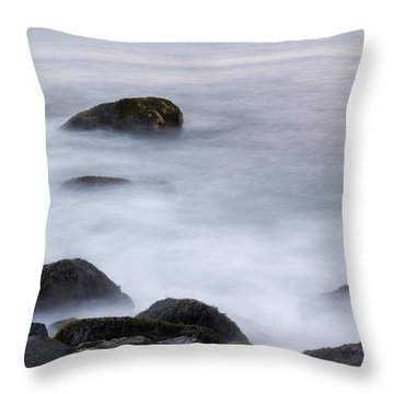 Misty Rocks Throw Pillow